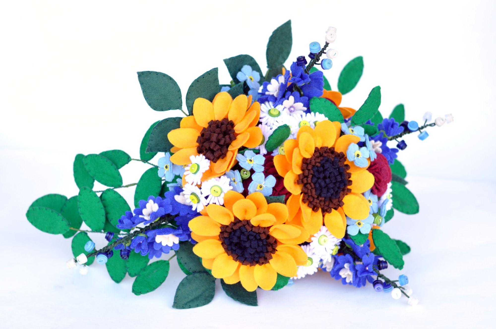 sunflower felt bouquet