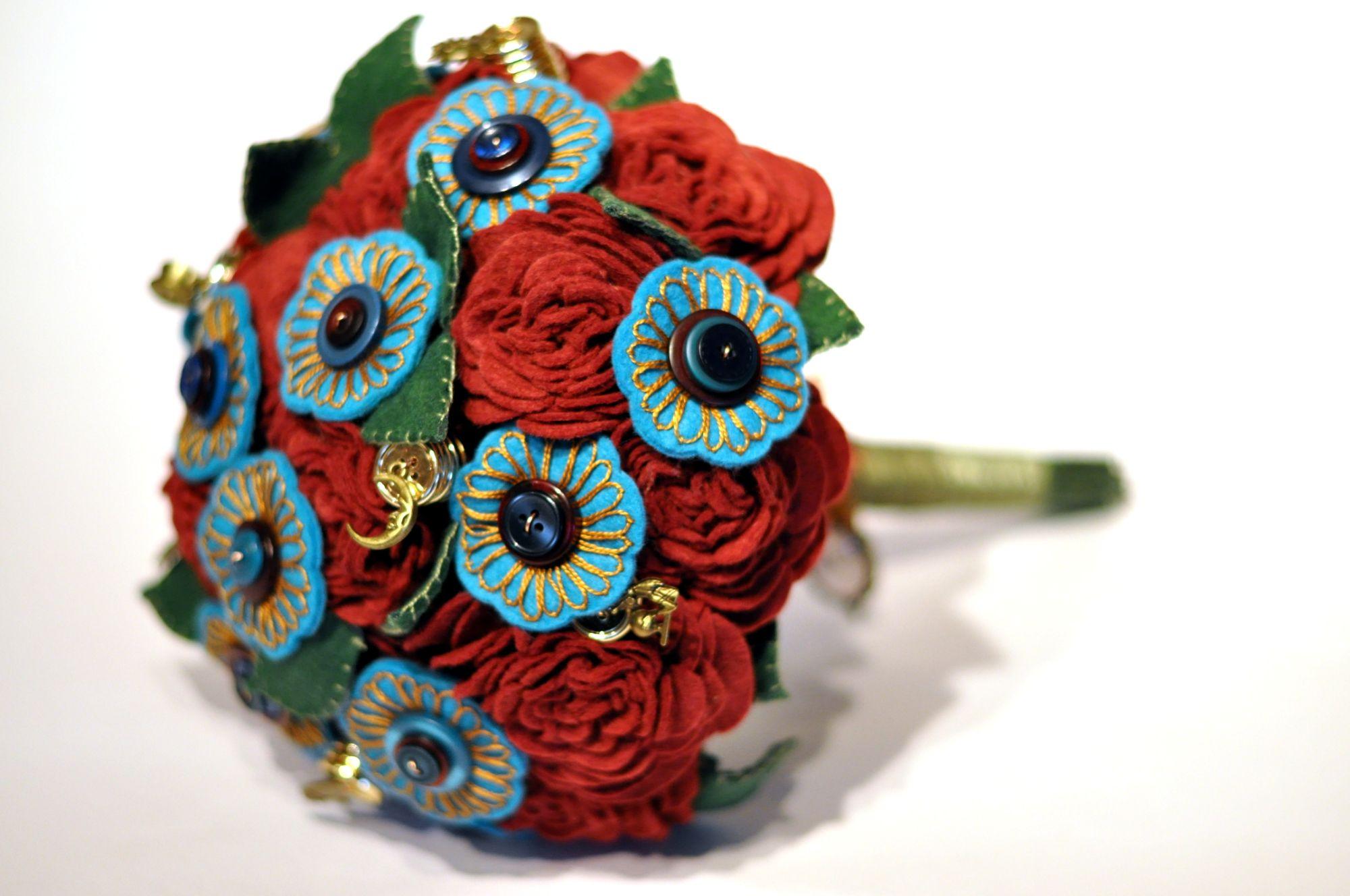 stylish felt wedding bouquet