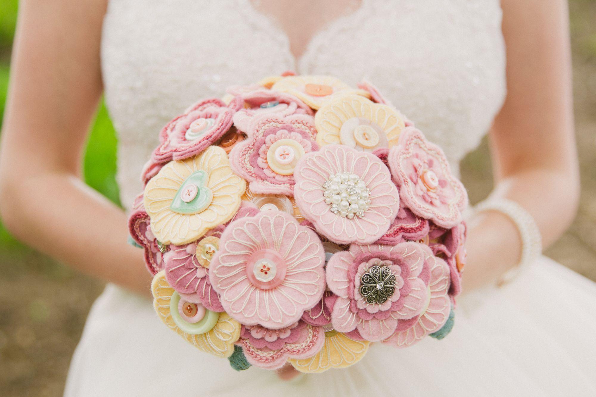 button and felt bouquets