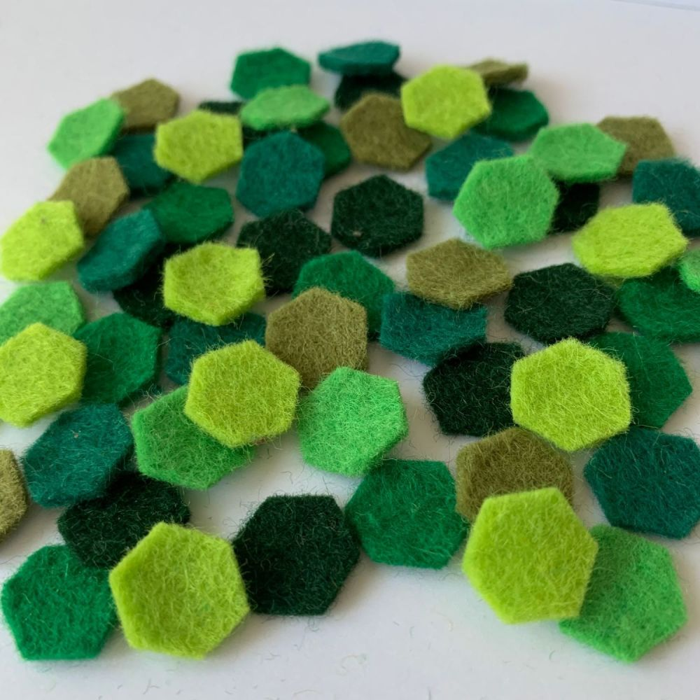 Wool Felt Shapes - Hexagons - Evergreen - 3 Sizes Available