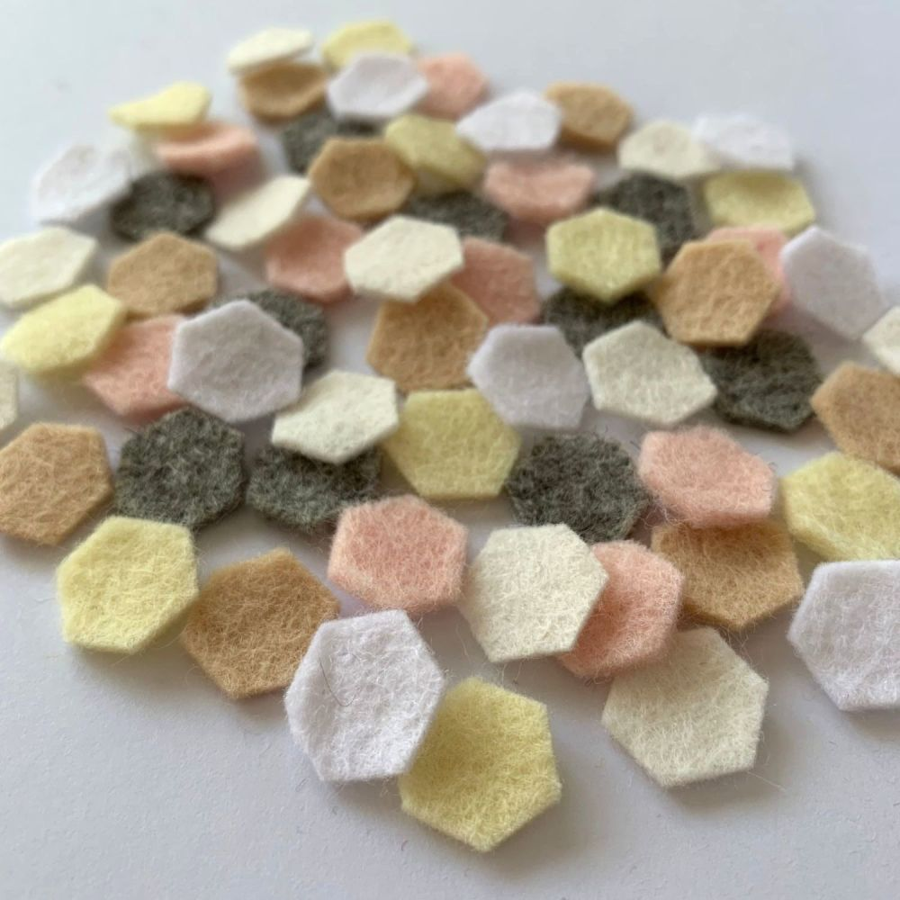 Wool Felt Shapes - Hexagons - Pure Neutrals - 4 Sizes Available