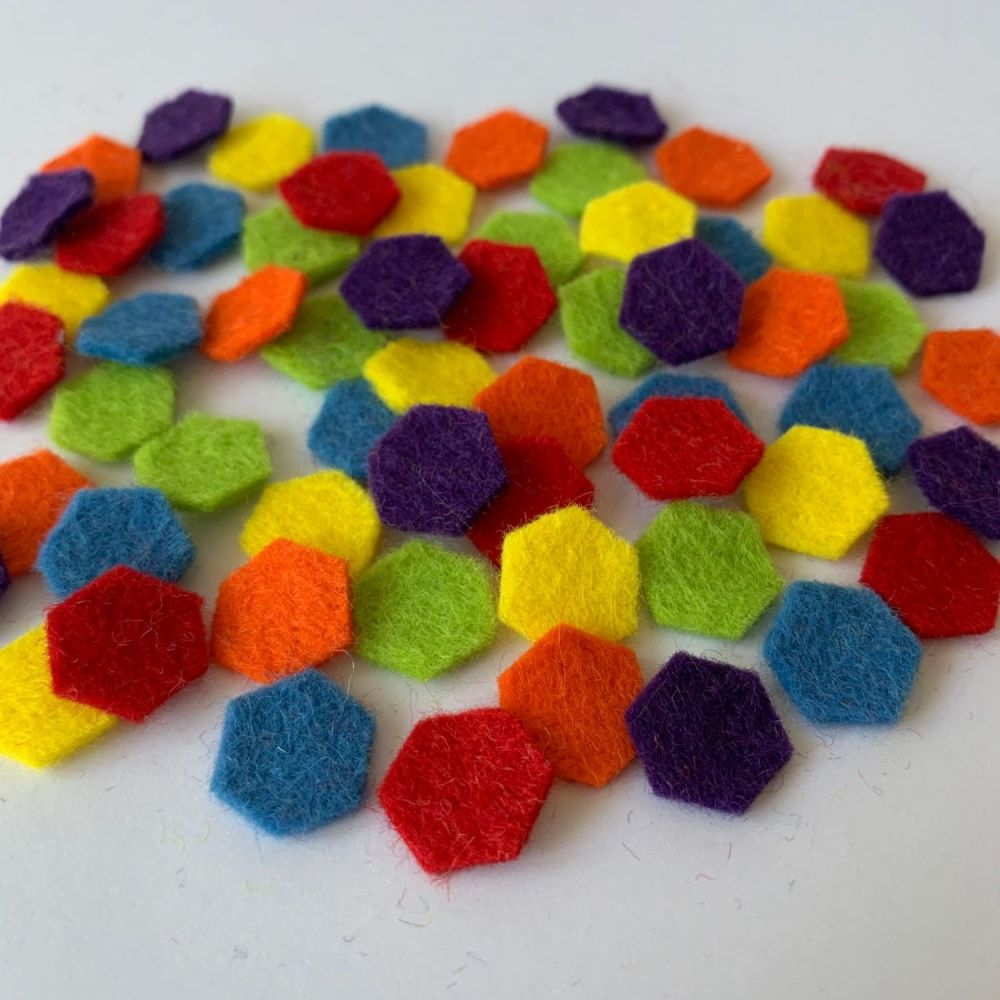 Wool Felt Shapes - Hexagons - Circus Bright's - 3 Sizes Available