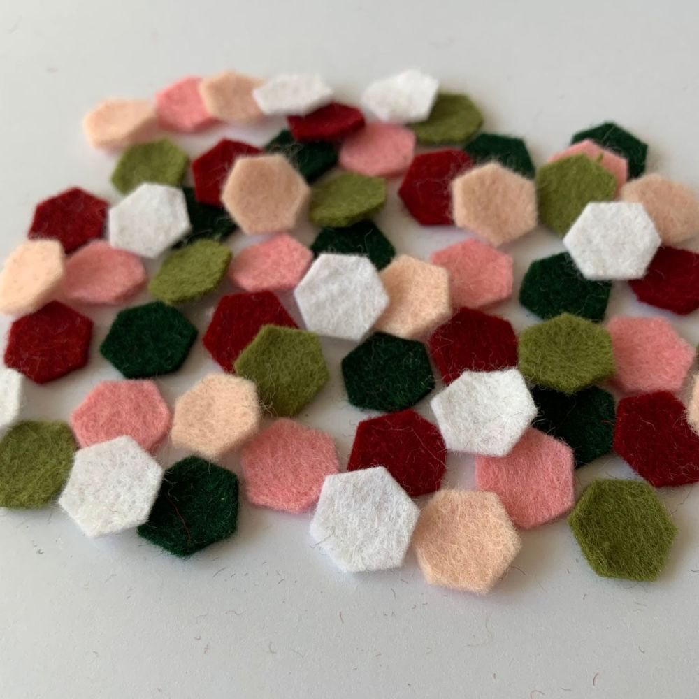 Wool Felt Shapes - Hexagons - Rose Garden - 3 Sizes Available