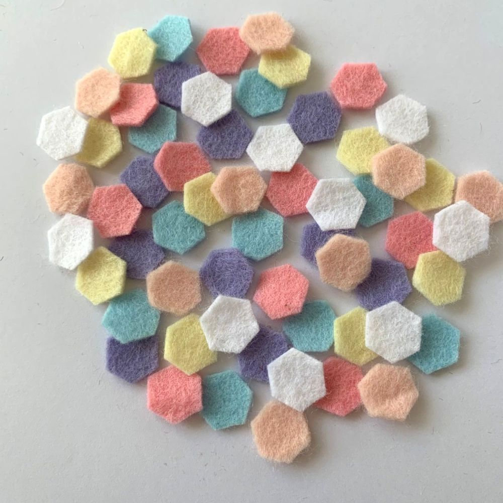 Wool Felt Shapes - Hexagons - Pastels - 3 Sizes Available