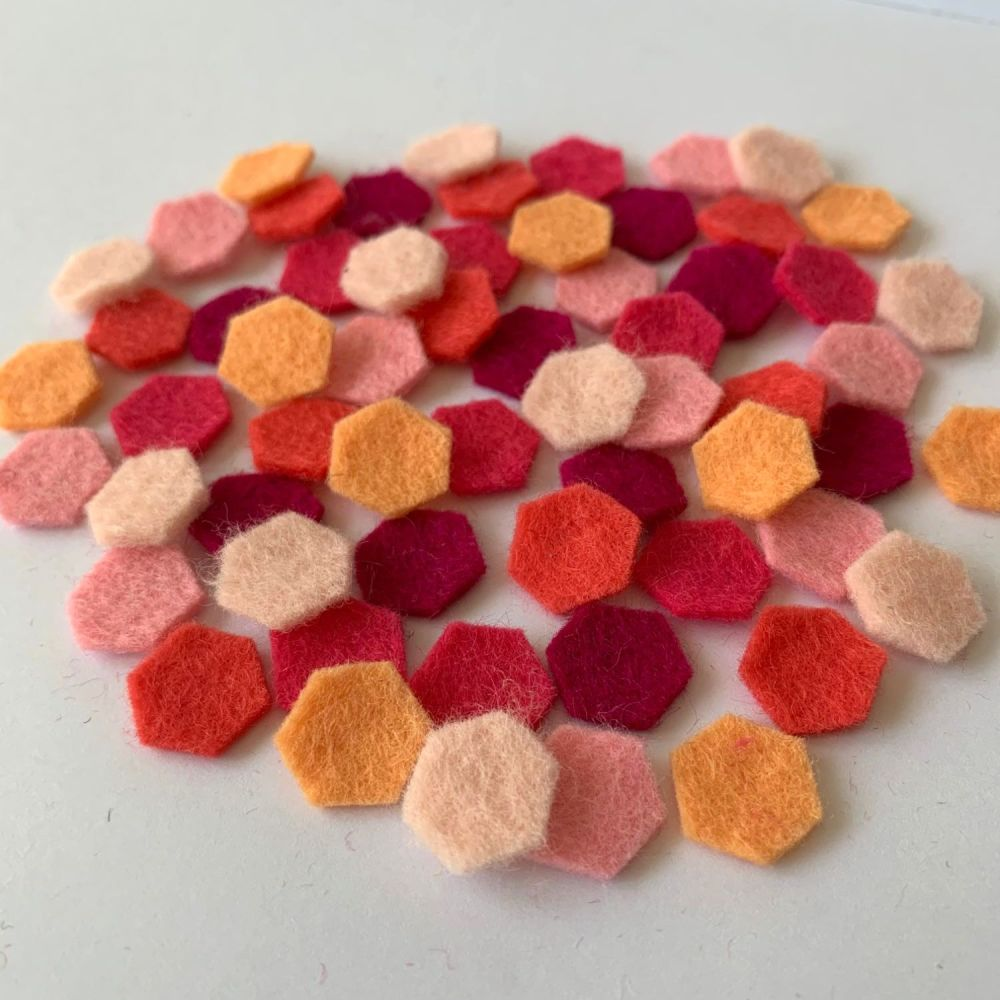 Wool Felt Shapes - Hexagons - Pretty in Pink - 3 Sizes Available