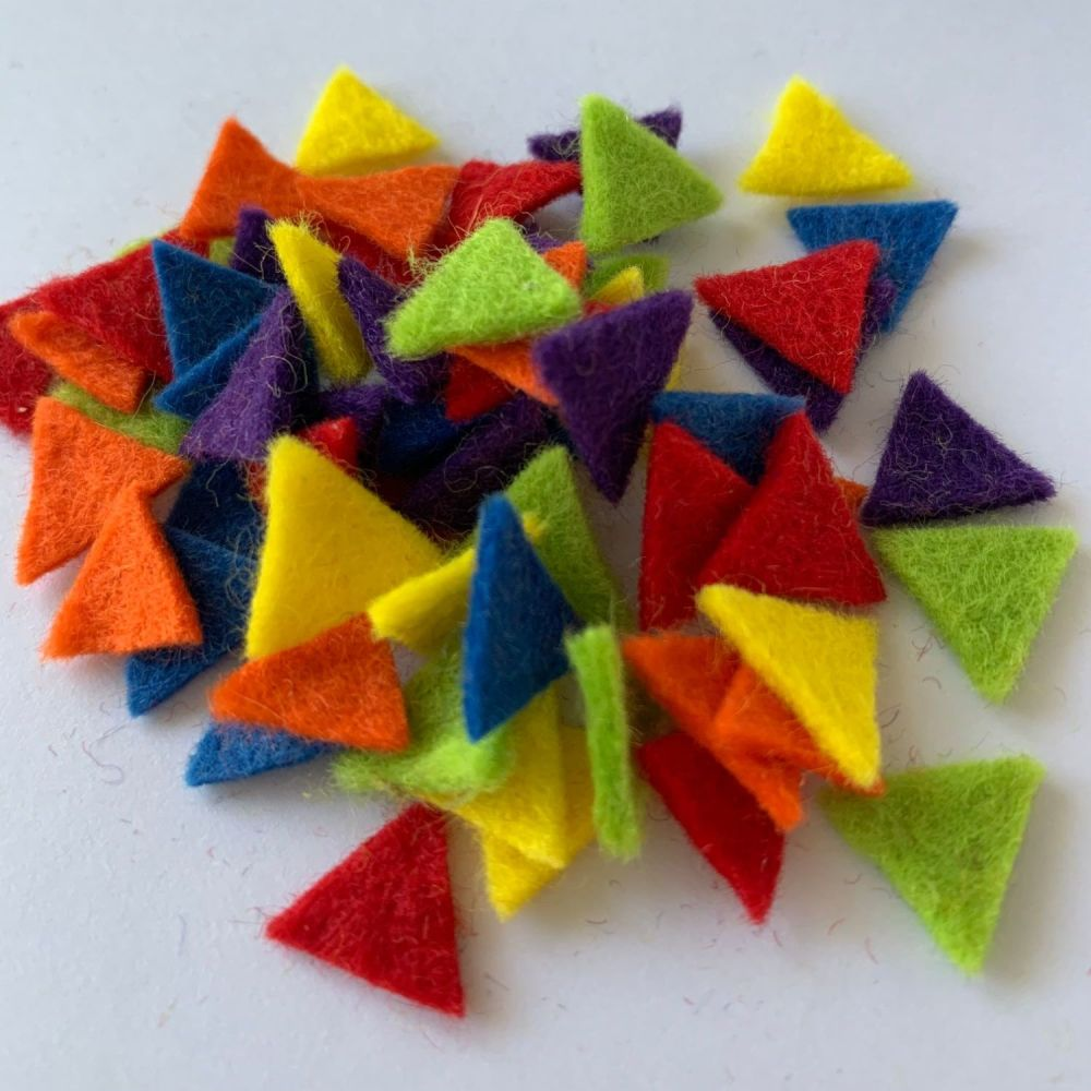 Wool Felt Shapes - Bunting Triangles - Circus Bright's - 4 Sizes Available
