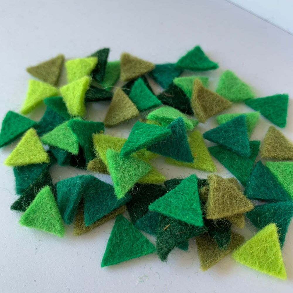 Wool Felt Shapes - Bunting Triangles - Evergreen - 4 Sizes Available