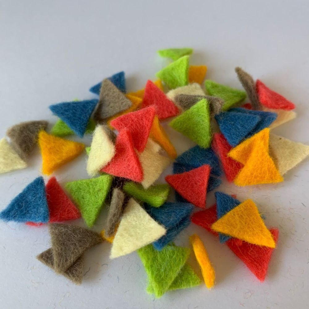 Wool Felt Shapes - Bunting Triangles - Geometric Retro - 4 Sizes Available