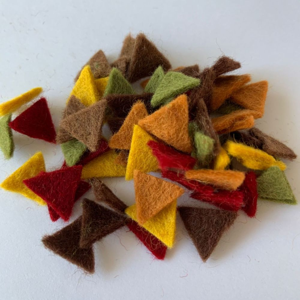 Wool Felt Shapes - Bunting Triangles - Autumn - 4 Sizes Available