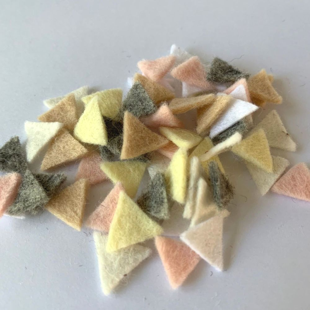 Wool Felt Shapes - Bunting Triangles - Pure Neutrals - 4 Sizes Available