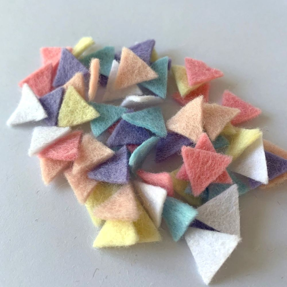 Wool Felt Shapes - Bunting Triangles - Pastels - 4 Sizes Available