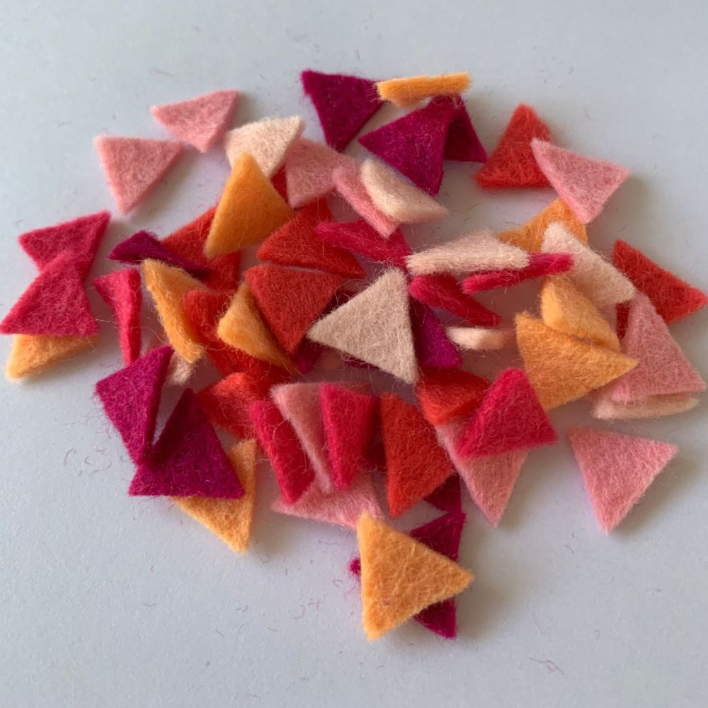 Wool Felt Shapes - Bunting Triangles - Pretty in Pink - 4 Sizes Available