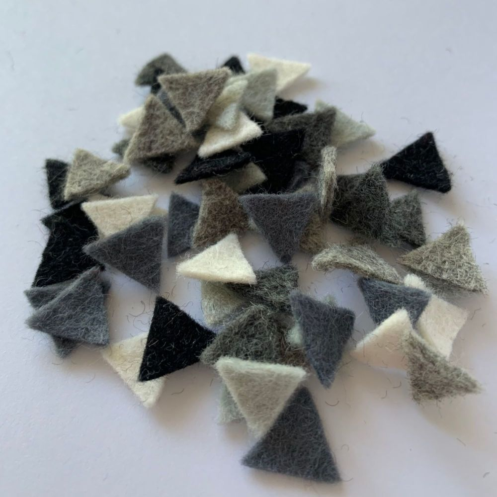 Wool Felt Shapes - Bunting Triangles -Monochrome - 4 Sizes Available