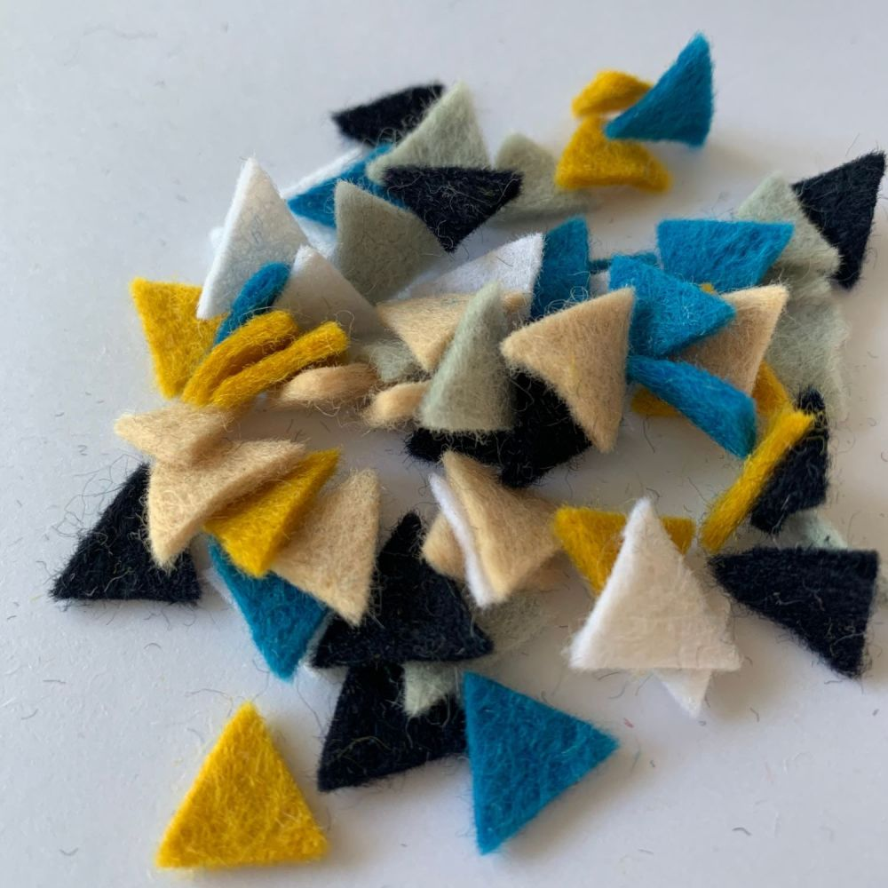 Wool Felt Shapes - Bunting Triangles - Seaside - 4 Sizes Available