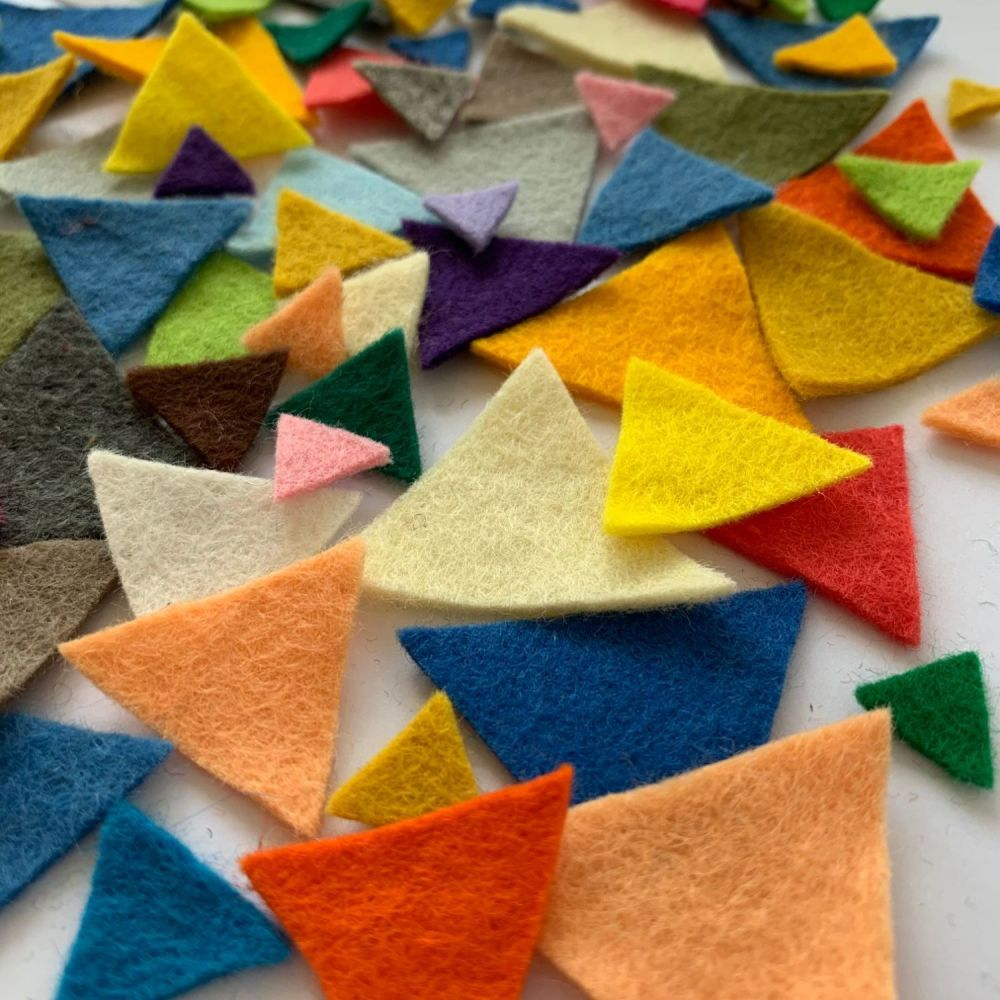 Wool Felt Triangles - Pick & Mix Your Own Colours! Felt Scrapbook Bunting T