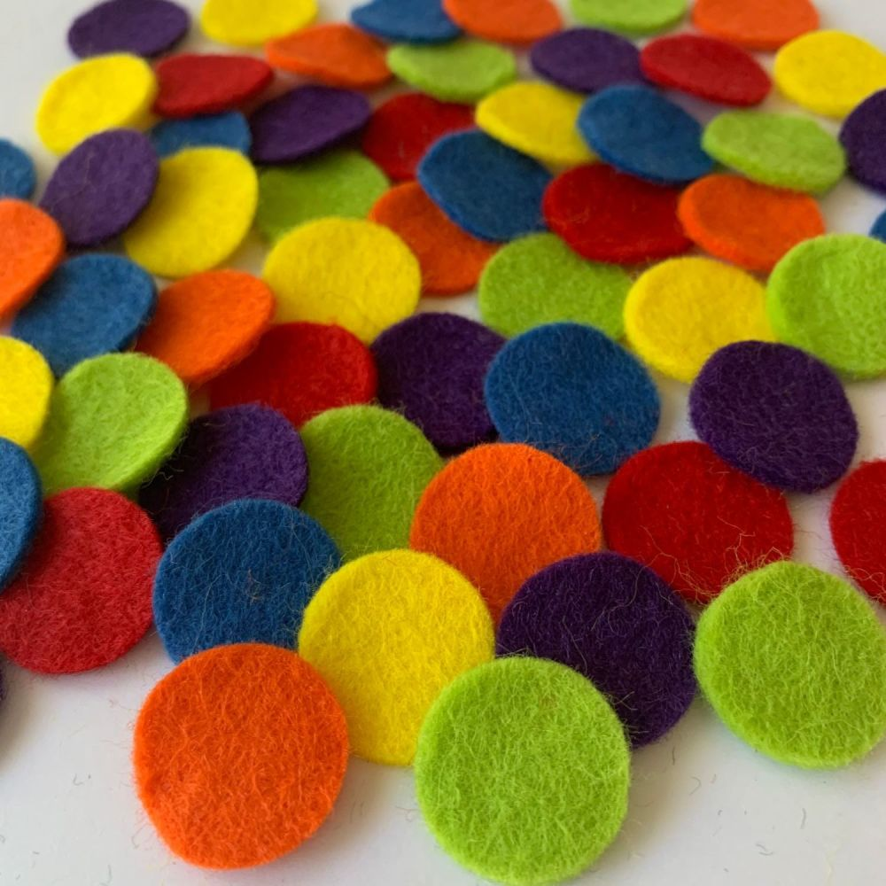 Wool Felt Shapes - Circles - Circus Bright's - 3 Sizes Available