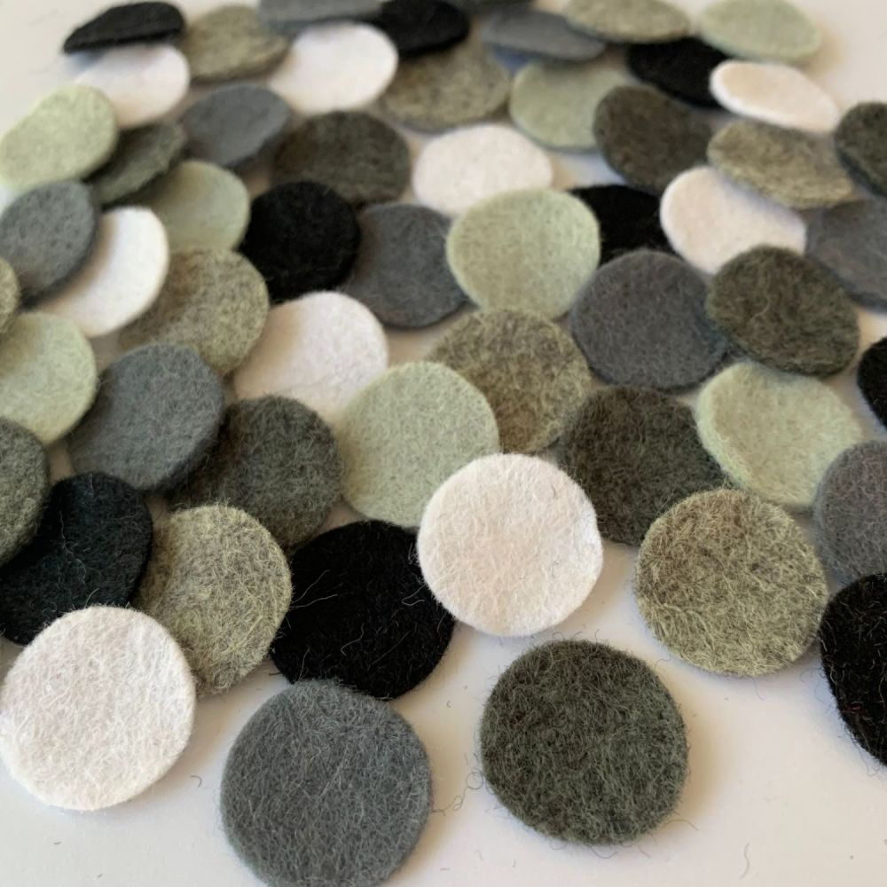 Wool Felt Shapes - Circles - Monochrome - 3 Sizes Available