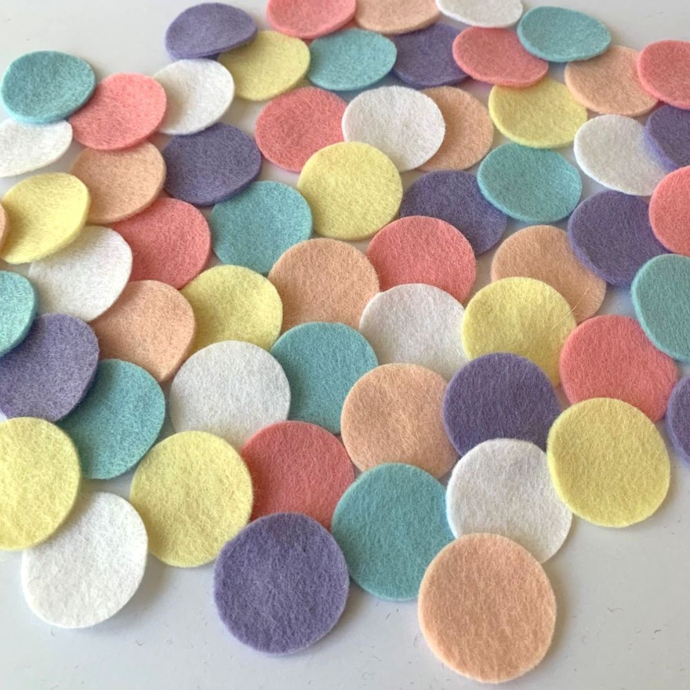Wool Felt Shapes - Circles - Pastels - 3 Sizes Available