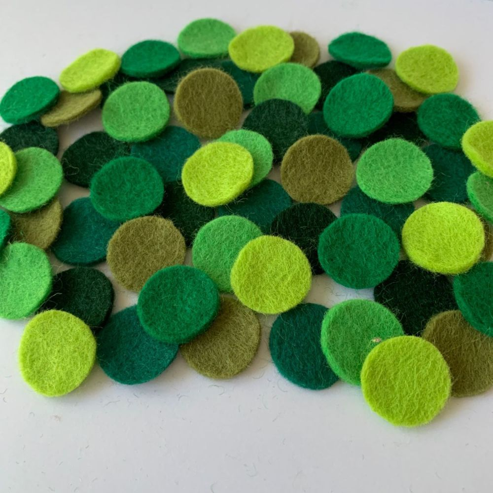 Wool Felt Shapes - Circles - Evergreen - 3 Sizes Available