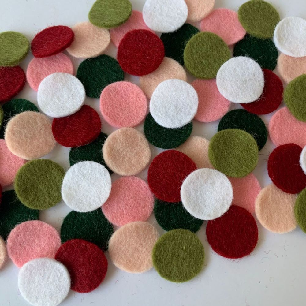 Wool Felt Shapes - Circles - Rose Garden - 3 Sizes Available