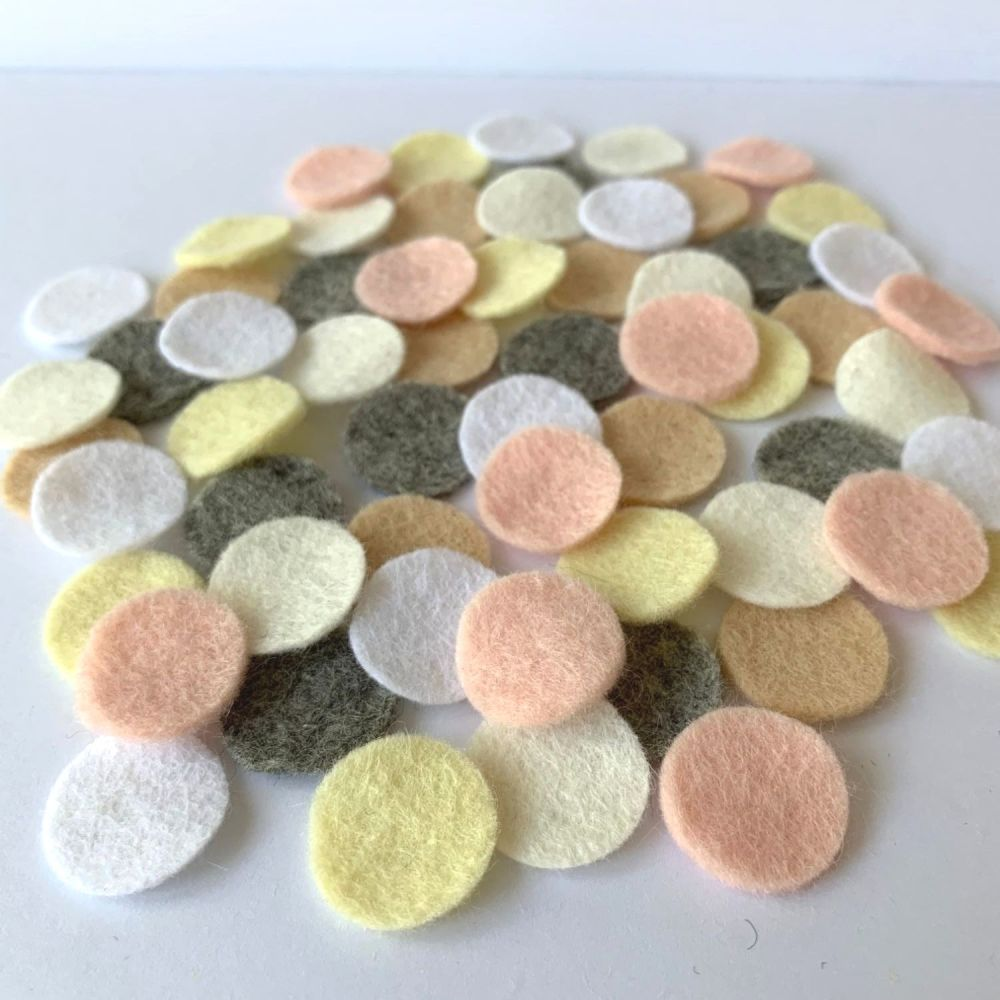 Wool Felt Shapes - Circles - Pure Neutrals - 3 Sizes Available