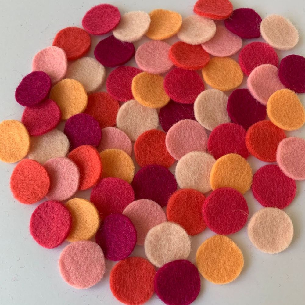 Wool Felt Shapes - Circles - Pretty in Pink - 3 Sizes Available