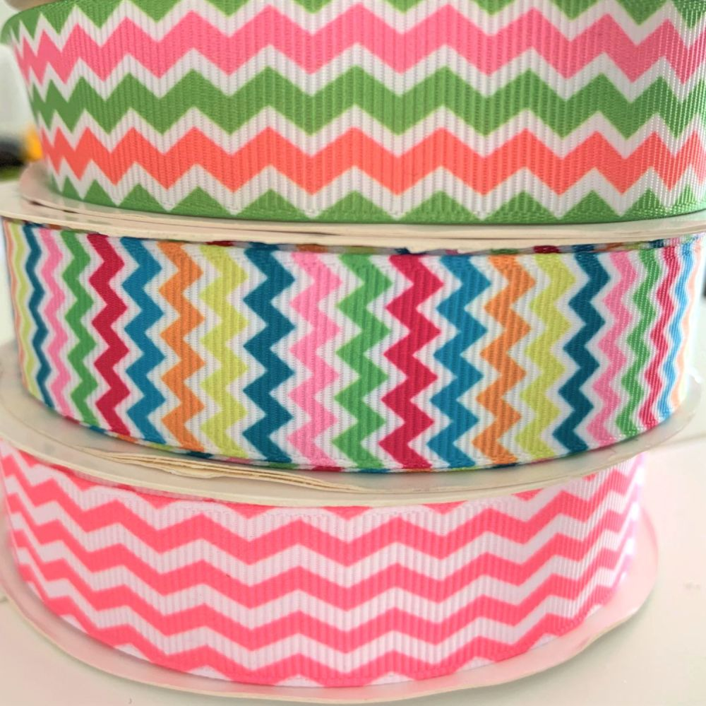 Chevron / Zig Zag Striped Ribbon 22mm