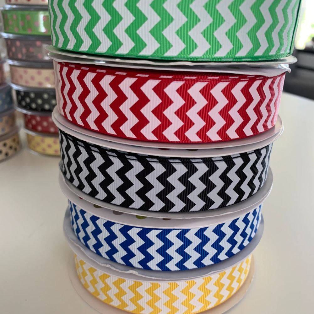 Chevron Print / Zig Zag Ribbons 22mm