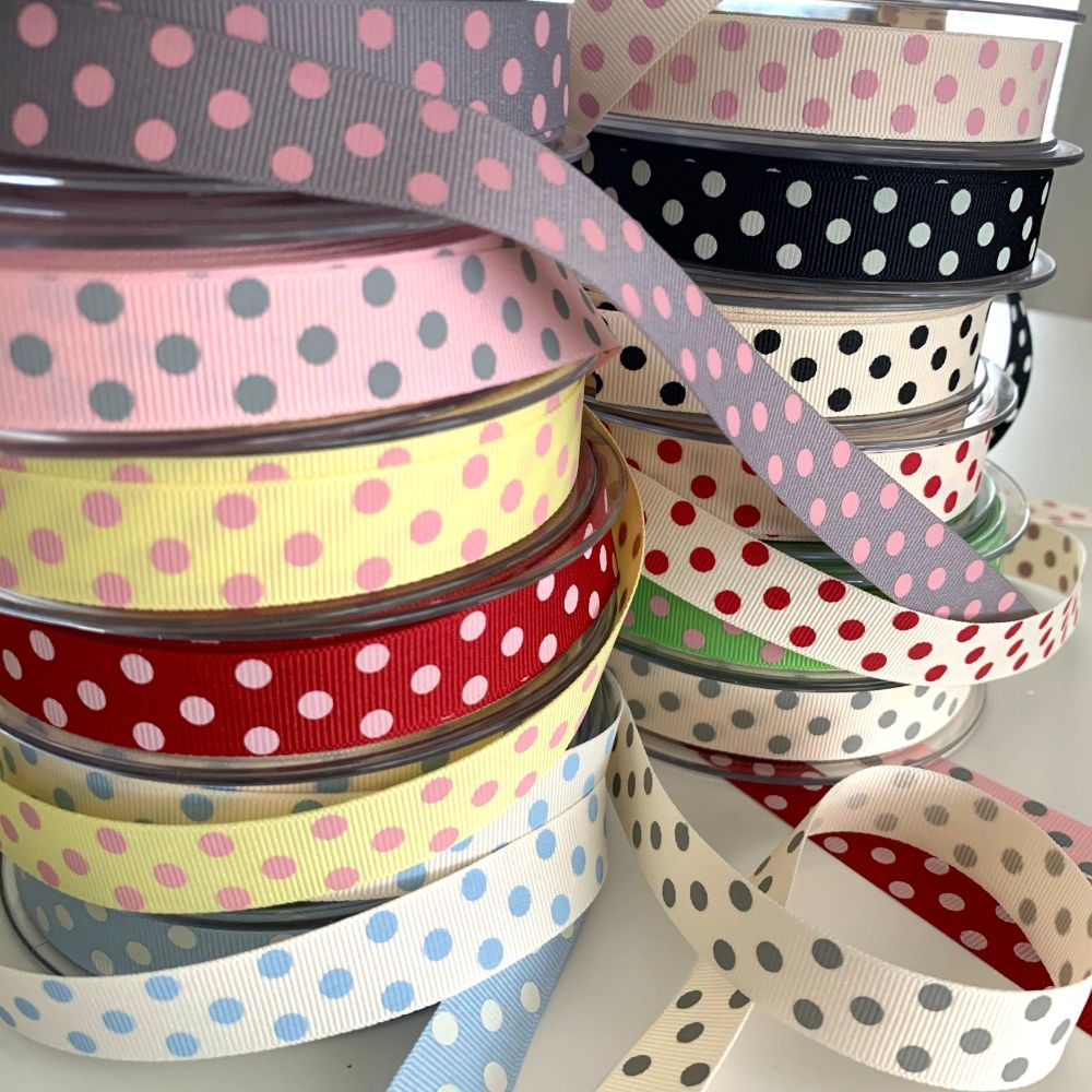 Berisford's 15mm Spotty Grosgrain Ribbon