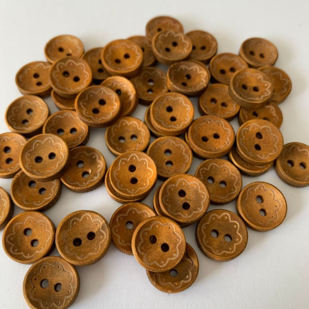 Scallop Edge Mini Wooden Buttons - 13mm / 10 pack