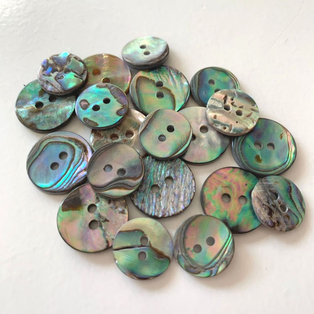 Dark Abalone Natural Shell Buttons - 2 Sizes