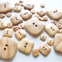 Natural Olive Wood Square Buttons - 5 sizes