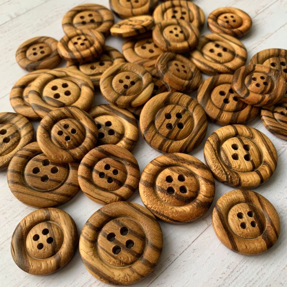 Olive Wood Buttons - Striped wooden buttons - 2 sizes