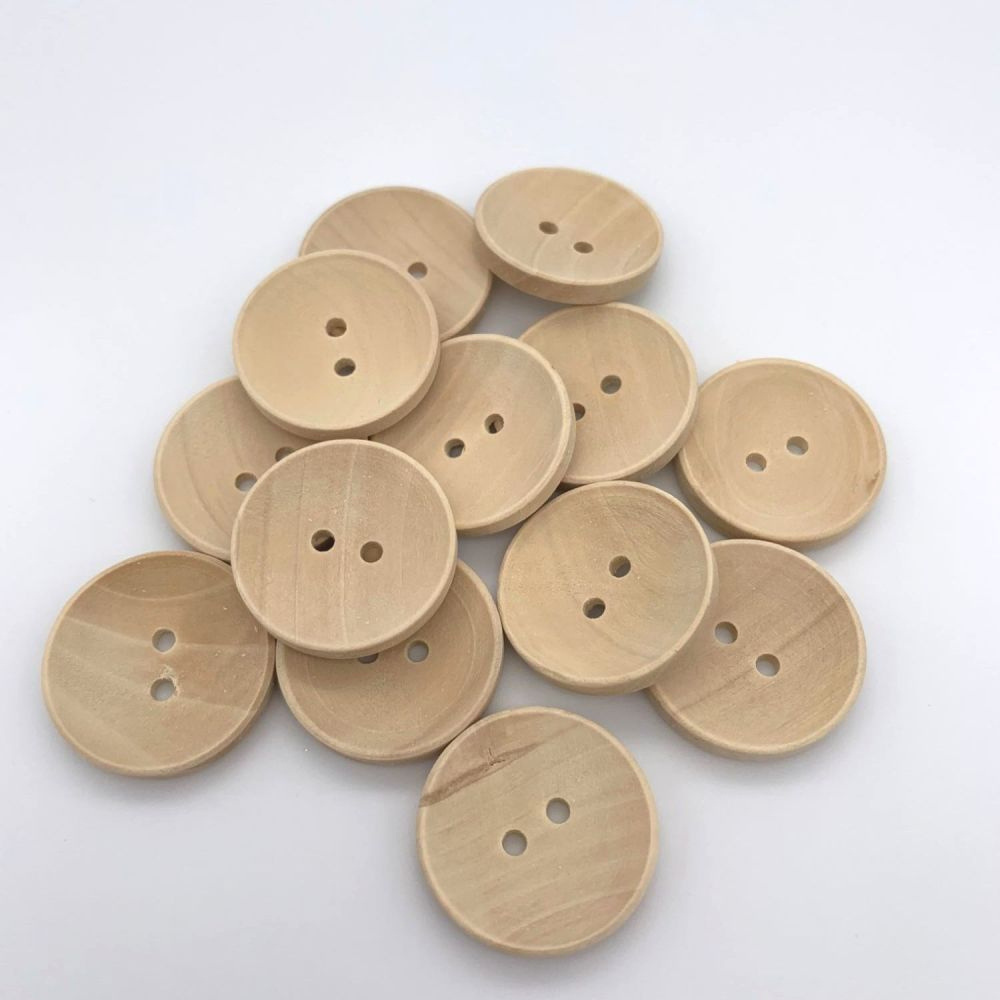 Natural Unlacquered Wooden Buttons - 25mm