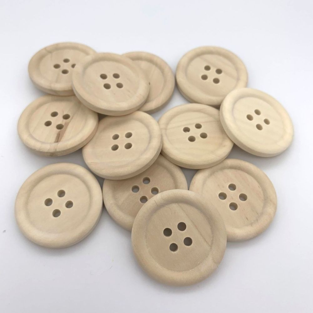 Natural Unlacquered Wooden Buttons - 30mm
