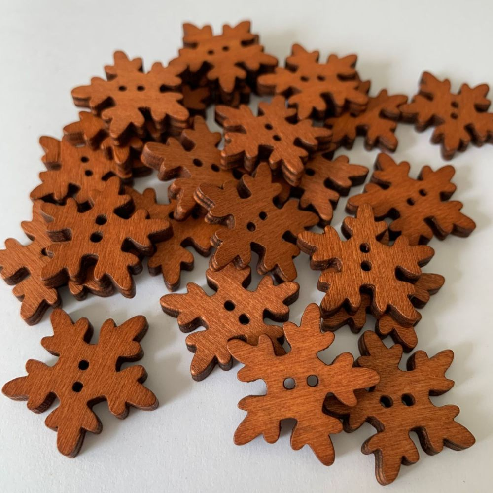 Novelty Snowflake Shaped Wooden Buttons - 18mm / 10 pack