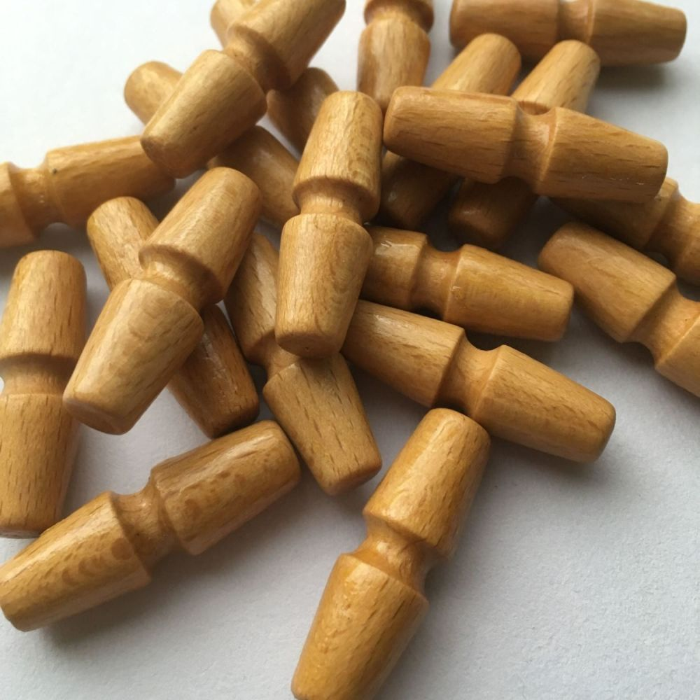 Traditional Wooden Duffle Coat Toggle Buttons - Natural Beech