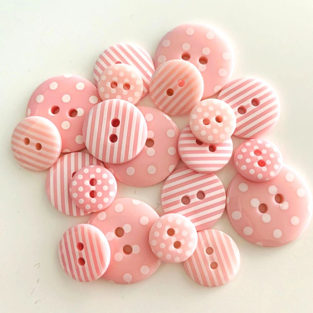 Pink Spots & Stripes Button Mix (20 buttons)
