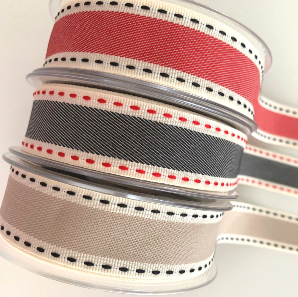 Berisford's 25mm Vintage Stitch Ribbon - 3 colours