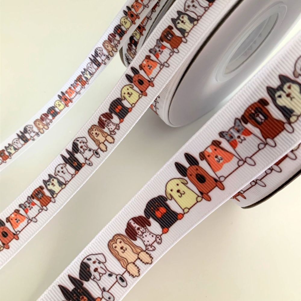 Cute mixed dog print grosgrain ribbons - 3 sizes