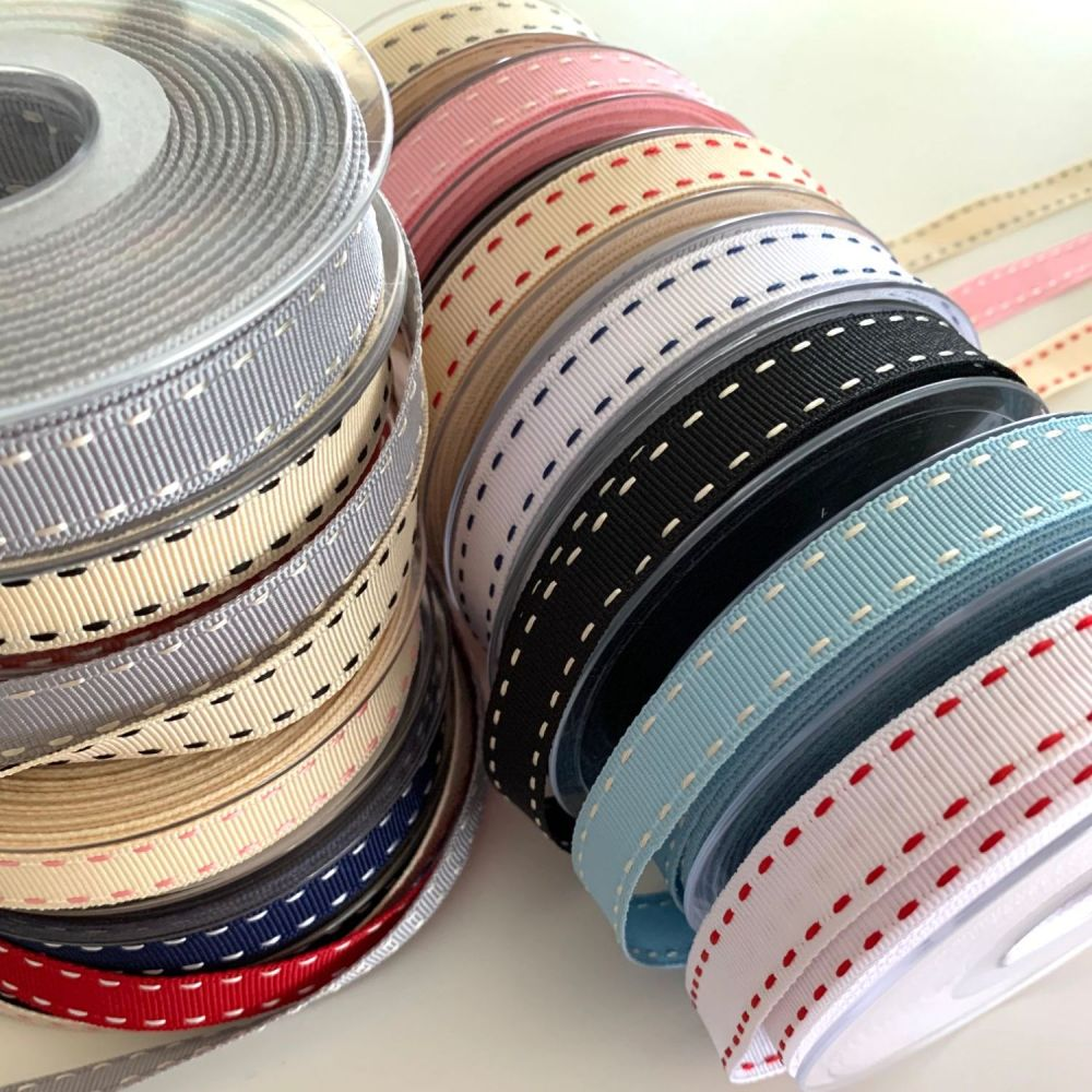 Berisford's 15mm Stitched Grosgrain Ribbon - 13 colours