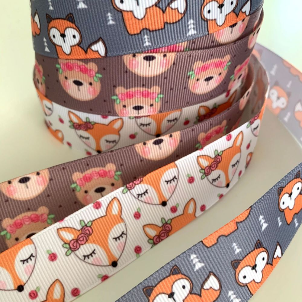 Cute animal print grosgrain ribbons - 3 Designs