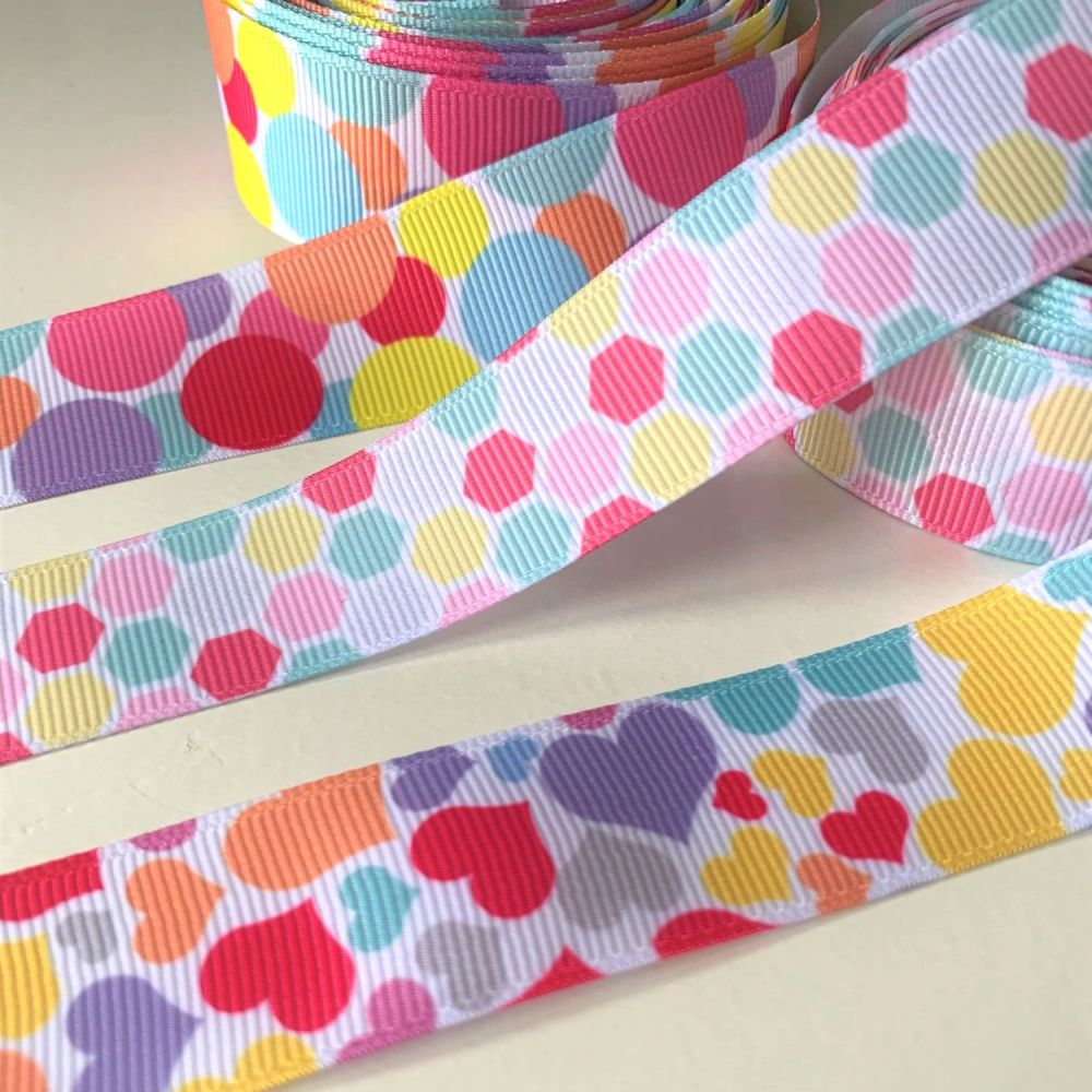 Bright and cheery heart, bubbles and geometrics print grosgrain ribbons