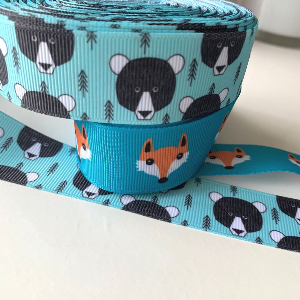 Bear and Fox print grosgrain ribbons