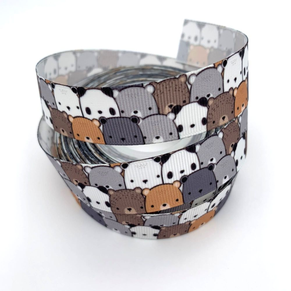 Bear Crowd print grosgrain ribbons