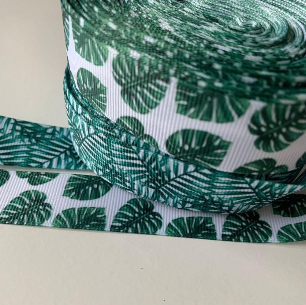 Botanical Leaves print grosgrain ribbons - Fern leaf/Monstera leaf