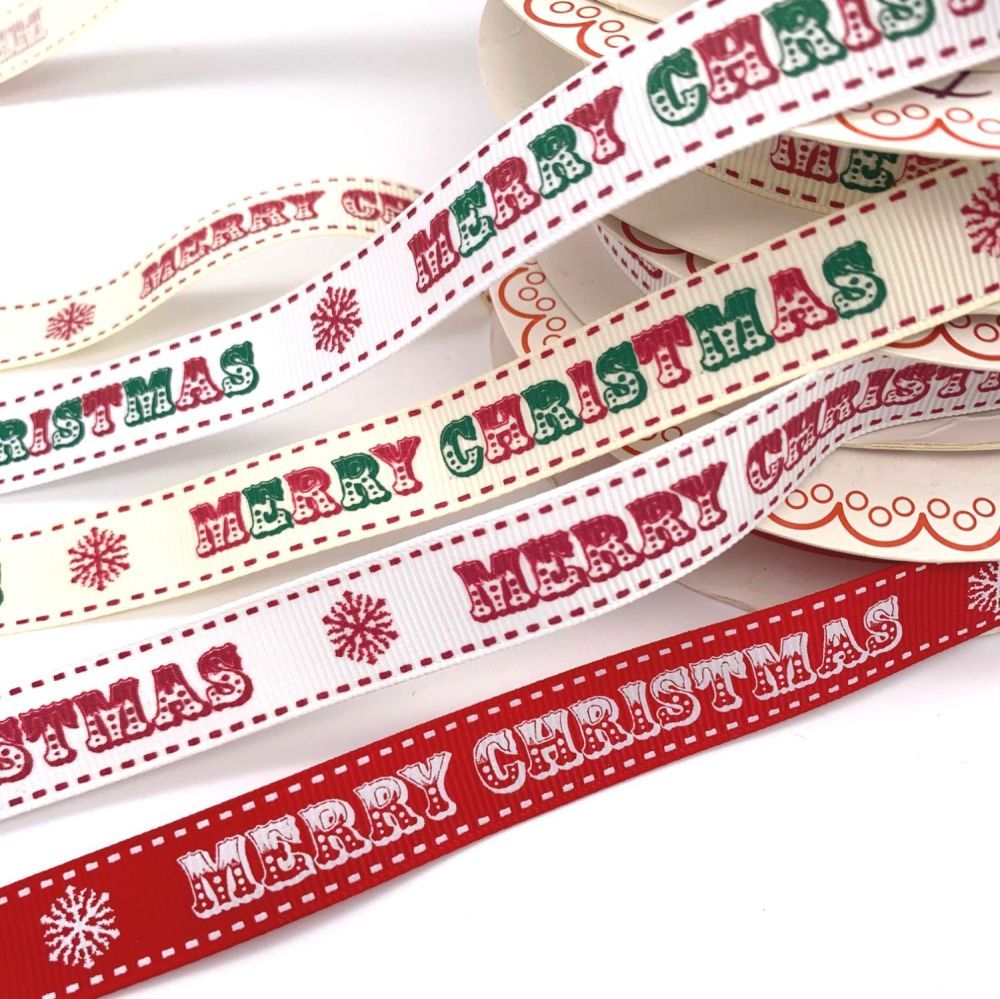 Bertie's Bows Merry Christmas Ribbons - 5 colours