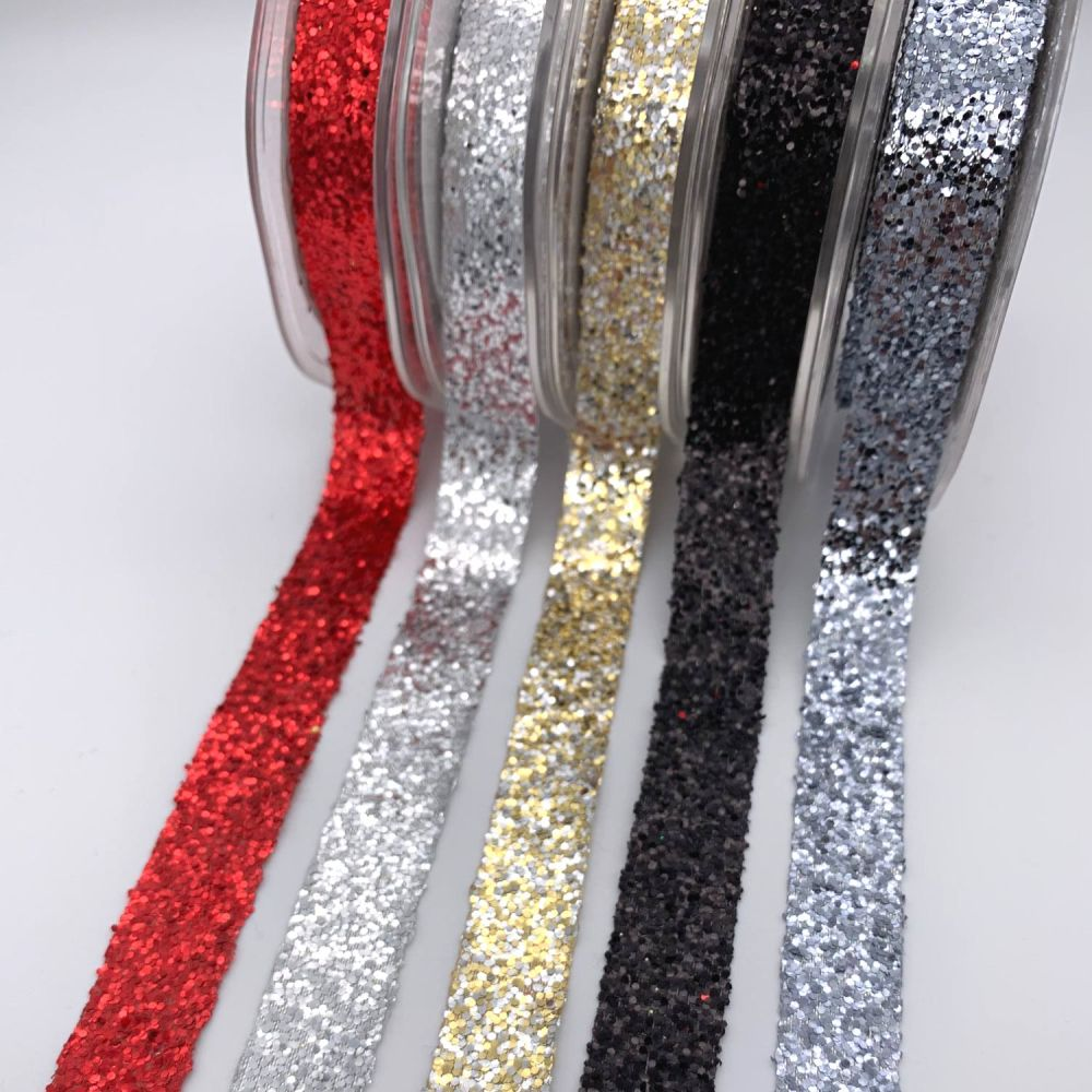 Bertie's Bows Sparkle Glitter Ribbon - 5 colours