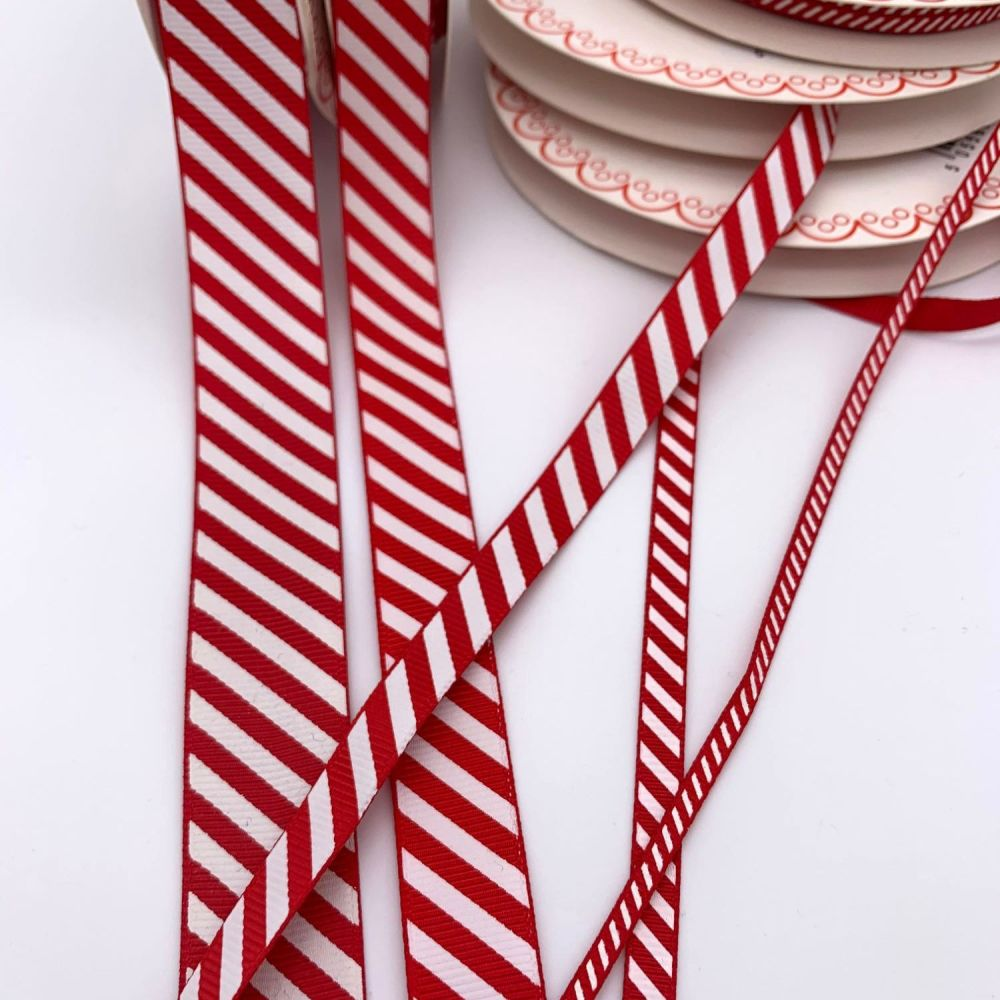 Bertie's Bows Candy Cane Striped Christmas Ribbons - 5 sizes