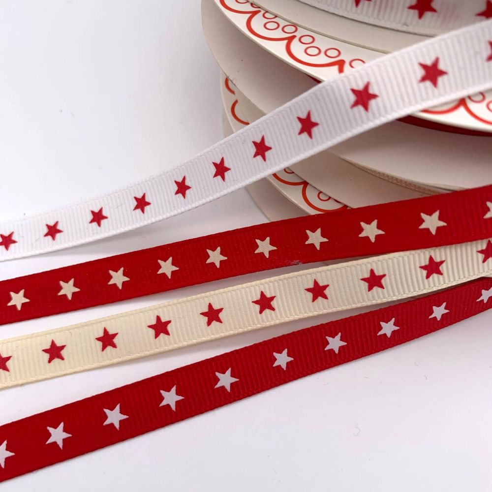 Bertie's Bows Christmas Star Ribbons - 4 colours